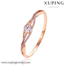 50990-xuping diseños simples brazalete de diamantes chapado en oro 18k