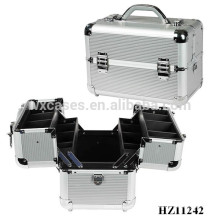strong aluminum cosmetic case with trays inside