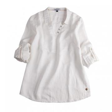 White Long Sleeve Women's Loose Long Casual Shirts