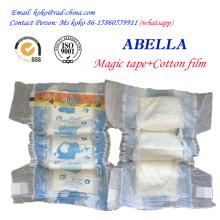 Abella Magic Tape de tela como Backflim alta calidad de absorción de pañales desechables para bebés