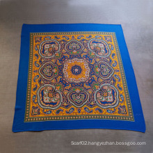 Cotton Printed Blue Scarves Small Squares Scarf