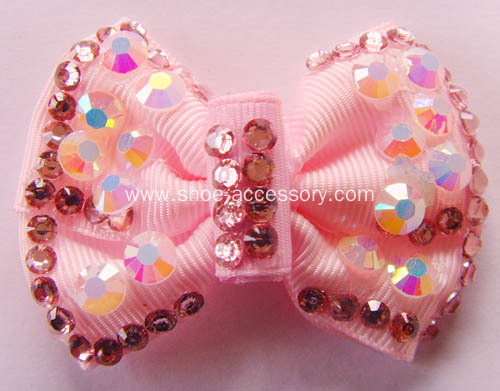 Pink Bowknot Handmade Flower with Rhinestone for Women Shoe Decoration