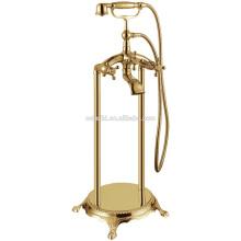 KFT-02 nouvelle arrivée clawfoot gloden salle de bains vasque en céramique massif cuivre chromé debout baignoire robinet