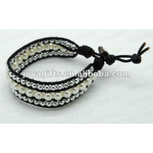 Amistad perlas de agua dulce perlas redondas envolver las pulseras