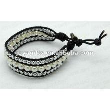 Friendship Freshwater Pearl Round Beads Wrap Bracelets