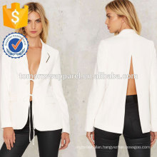White Slit Back and Relax Jacket OEM/ODM Manufacture Wholesale Fashion Women Apparel (TA7006J)