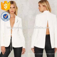 Белый разрезом сзади и отдохнуть куртка ОЕМ/ODM Производство Оптовая продажа женской одежды (TA7006J)