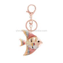 Fashion Creative Women HandBag Jewelry Crystal bream Fish Pendant Keychains Gold Plated Keyring
