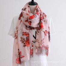 Lenço de seda estampado floral senhora moda (yky1144)