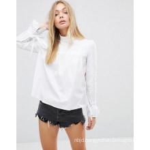 Round Collar Ladies Blouse with Bandage Sleeve Blouse
