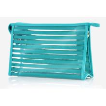 Saco de lavagem de cosméticos para produtos de toalete de PVC transparente com listras da moda (YKY7534)