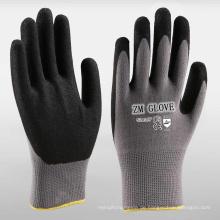 15 Gauge Nylon Spandex Liner Schwarz Sandy Nitril getaucht Handschuhe