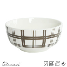 5.5 Inch White Porcelain with Decal Rice Bowl