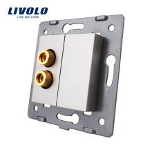 Livolo Серый Пластик Материалы ЕС стандартная функциональная клавиша для 1 Gang Sound Электрическая розетка C7-91A-15