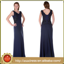 ABI-03 Vintage V-neck Floor Length Zipper Back Sequins Appliques Long Mother of the Bride Dresses Plus Size