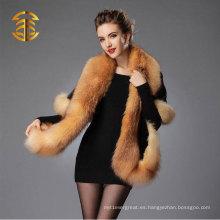 2015 Los lujos de las mujeres elegantes de la venta caliente la piel genuina del visión con el mantón del ajuste de la piel de Fox para el vestido de noche