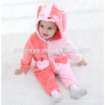 Bébé doux flanelle barboteuse Animal Onesie pyjamas costumes costume, vêtements de couchage, tissu rose mignon, serviette à capuchon de bébé