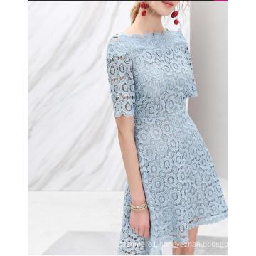 Flower Lace off-Shoulder Light Blue Half Sleeve Women′s Dress