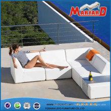 Sofá de jardín muebles al aire libre del cuero blanco moderno de cuero de PU