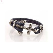 2 Layers 5mm Thick Men's Design Anchor Leather Bracelet