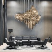 Стеклянная трубка, золото, декоративное освещение, люстра на заказ