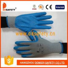 13 Gauge Grey Nylon Shell Gloves with Blue Nitrile Coating Foam Finished