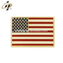 Cadeau promotionnel en métal Rectangle American Flag Gold Pin