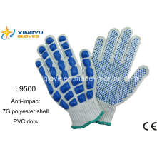 T / C Shell Latex puntos guantes de trabajo de seguridad (L9500)
