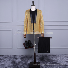 New Arrival One Button Gold Sequined Men Suits in storck Cheap sale Men pants Bow