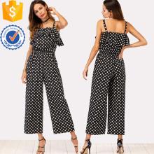Black Ruffle Guarnição Polka Dot Jumpsuit OEM / ODM Fabricação Atacado Moda Feminina Vestuário (TA7017J)