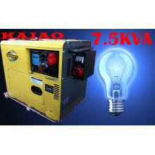 5.8kw / 7.5kVA eléctrico de arranque eléctrico trifásico silencioso mejor generador diesel con ATS