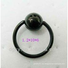 Anillo de cierre de bola de acero anodizado negro