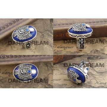 Charm Rings Lapis Lazuli Fashion Jewelry Set Vogue Drama Style