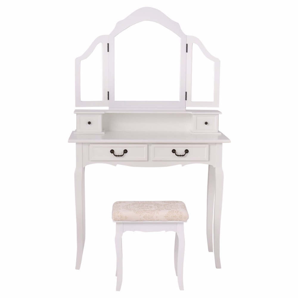 Folding Makeup Table Set Bedroom Dressing Sets Tri Mirror Vanity With Stool & 4 Drawers Black/White (White)
