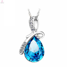 Beautiful 925 Sterling Silver Blue Stone Necklace Chain For Girls