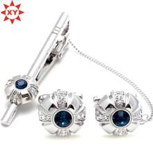 Pince à cravate et boutons de manchette en cristal bleu