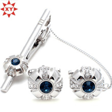 Blue Crystal Tie Clip and Cufflinks