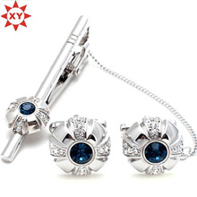 Синий Кристалл зажим для галстука и Запонки