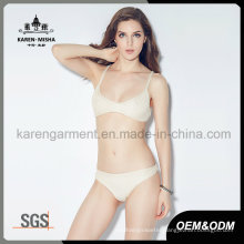 Women Knitted Stretched Solid Color Bikini Underwear