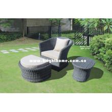 Sofá de jardín de ocio con taburete Muebles de mimbre de ratán Bp-216