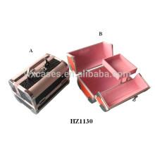 casos com bandejas dentro de sacos de cosmético de alumínio profissional