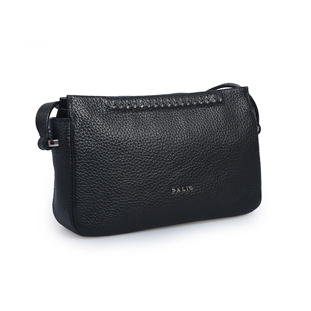 leisure women smooth genuine leather black crossbody bag for daily