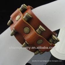 Venta al por mayor joyas de estilo europeo Pulsera de cuero con encanto BGL-020