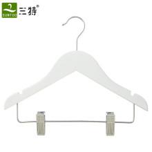 weiße Farbe Kinderkleiderbügel mit Clips