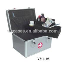 Nueva caja de primeros auxilios de aluminio portable con 2 bandejas interior
