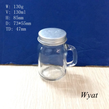 120ml 4oz Glass Mason Jar with Handle and Screw Metal Lid