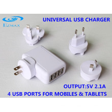 Mini chargeur USB 4 en 1 (fiche USB pliable) Chargeur de voyage Adaptateur USB