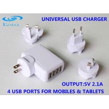 Carregador USB Mini 4 in 1 (Plugue US Folding) Carregador de viagem Adaptador USB