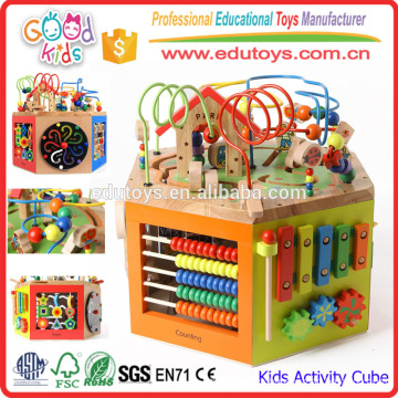 Kindergarten Toys Wooden Activity Cube, 7-in-1 Kids Activity Center for Children Ages 1 to 3