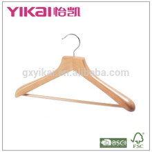 Beautiful coat wooden hanger with square bar and rubber teeth